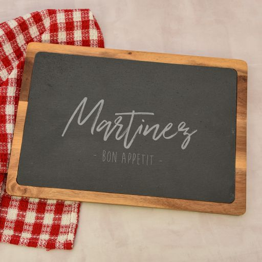 Bon Appetit Personalized Cutting Board with Slate Insert
